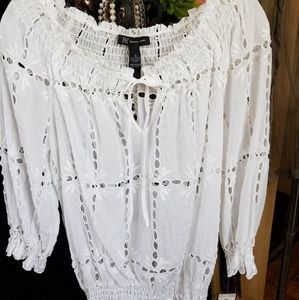 INC EYELET lacy blouse
